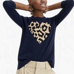 J crew everyday leopard heart cashmere crewneck